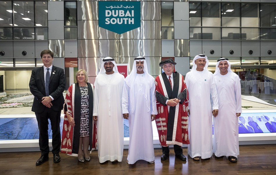Patrick Moody, British Ambassador to United Arab Emirates; USW Vice-Chancellor Professor Julie Lydon; HH Sheikh Ahmed bin Saeed Al Maktoum; HE Sheikh Nahyan bin Mubarak Al Nahyan; Professor John Andrews; HE Khalifa Al Zaffin, Executive Chairman, Dubai Aviation City Corporation; Dr Abdulla Al Karam, Chairman of the Board of Directors & Director General, Knowledge & Human Development Authority. (PRNewsfoto/University of South Wales)