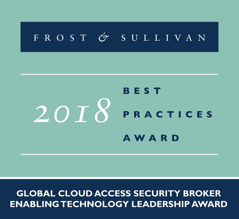 2018 Global Cloud Access Security Broker Enabling Technology Leadership Award (PRNewsfoto/Frost & Sullivan)