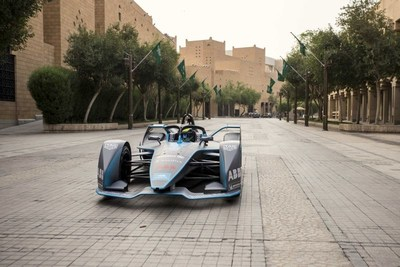 Felipe Massa drives the streets of historic Saudi capital Diriyah in a Gen2 Formula E car (PRNewsfoto/The General Sports Authority of)
