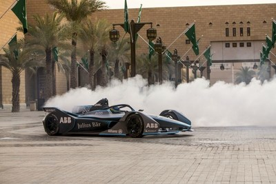 Felipe Massa lights up the ancient city of Diriyah in the Gen2 Formula E racer (PRNewsfoto/The General Sports Authority of)