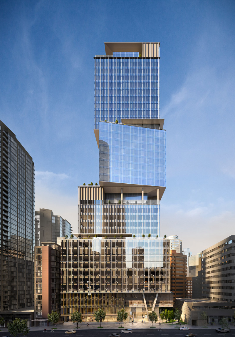 The Stack office tower, viewed from Melville street, rises 36-storeys and features an intricate stacked box design. (CNW Group/Oxford Properties Group Inc.)
