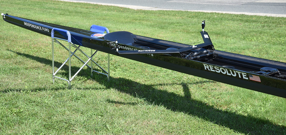The new Independence Fund racing shell with adaptive seats for para-rowing.