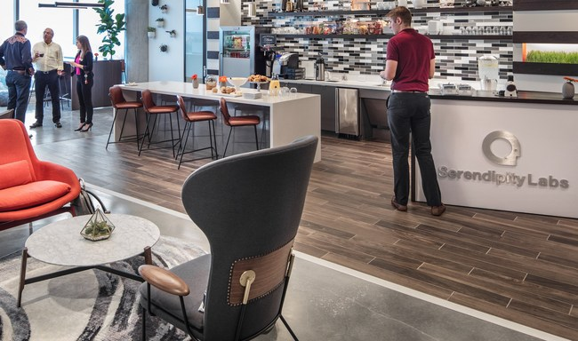 The Phoenix-area Serendipity Labs will meet the same premium design standards as this Atlanta, GA – Buckhead Lab. The company uses only low volatile organic compound (VOC) paint and nontoxic materials. All carpet is 100% recyclable. (Photo credit: Serendipity Labs)