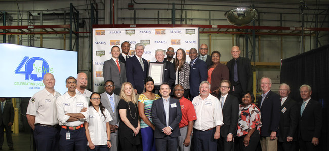 Mars Food celebrates 40 years in Greenville, MS with Mississippi Governor Phil Bryant and other elected officials.