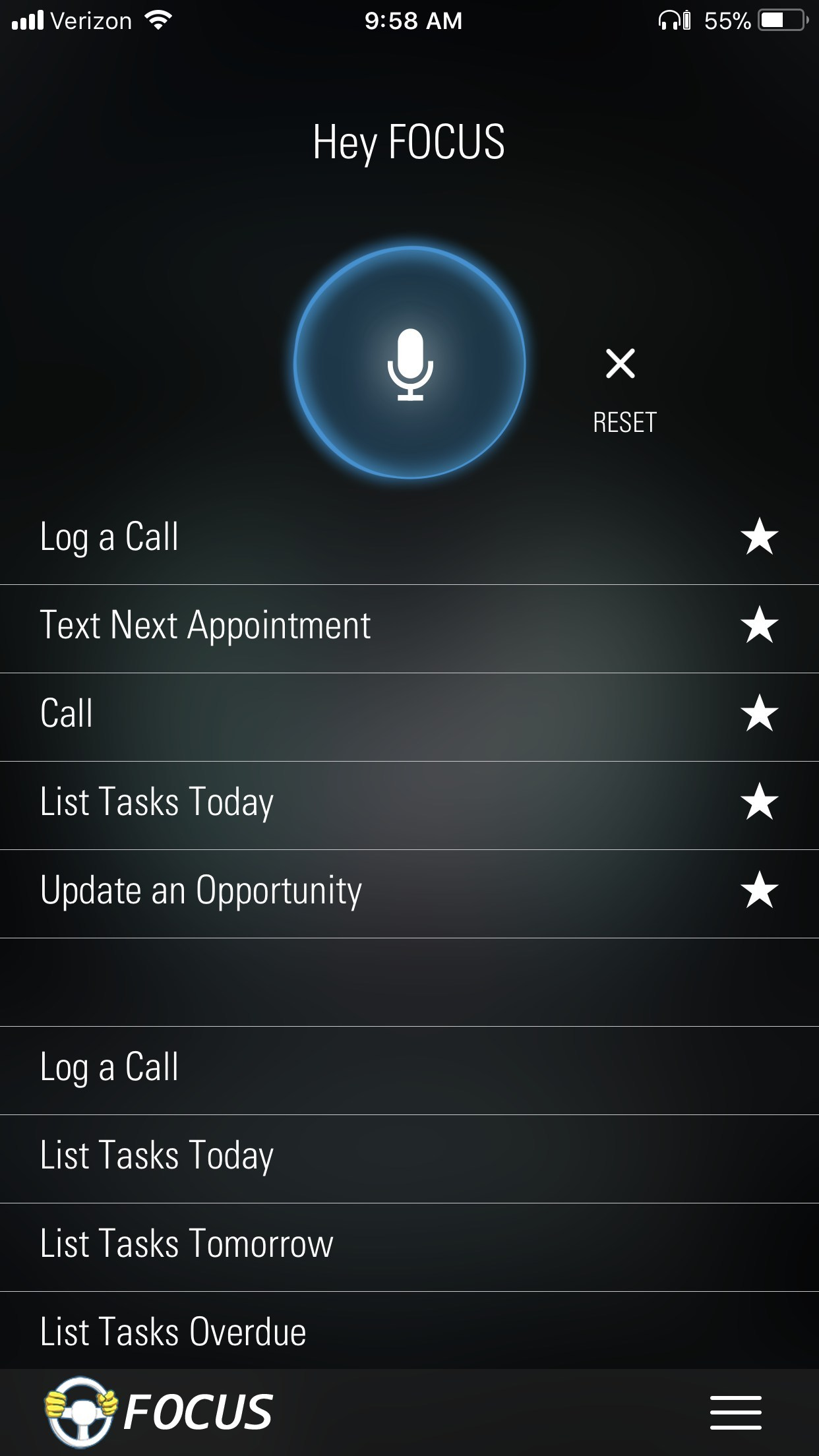 Over 35 commands are available by voice or touch. The five most frequently used are at the top for convenience.