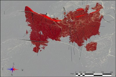 Figure 2. Underground-only Scenario – Applying >=0.18% CoEq (red) Inferred resources as an underground only scenario. Diamond drill holes are shown in black. Topographic surface is shown for reference. View is azimuth 175 deg. and dip -33 deg. (CNW Group/First Cobalt Corp.)