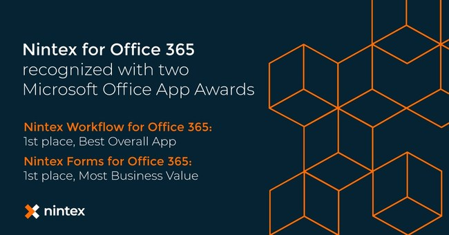 Microsoft presented Nintex with two 2018 Office App Awards recognizing the business value and overall impact of Nintex for Office 365. Learn more at Nintex.com.