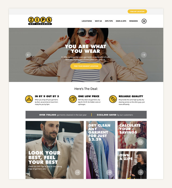 ZIPS Dry Cleaners Website Screenshot