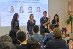 The East Meets West panel: (from left to right) Moderator Eleanor Jones from Talenta, Perianne Boring from Washington D.C.'s Digital Chamber of Commerce, Matthew Roszak from Bloq and Alison Wang from OKEx. (PRNewsfoto/Talenta)