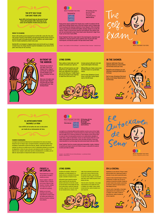 """The Breast Treatment Task Force (BTTF) makes information readily available through easy to follow, brightly-colored, multiple language, resources like these breast self-exam cards seen here in English and Spanish. They are also available in Chinese and Korean. Many hardworking, multicultural populations are among those """"stuck in the middle"""" of the insurance gap, and often defer care as a result."""