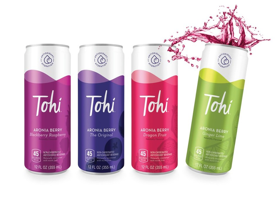 Tohi beverages are 30% single strength Aronia Berry juice and 70% hydration, available in four refreshing flavors: The Original, Blackberry Raspberry, Dragon Fruit and Ginger Lime. Tohi is non-carbonated and naturally low in calories, with no added sugars and just a hint of Monk Fruit for sweetness. Tohi beverages are packaged in eco-friendly, 12-ounce slim aluminum cans, available for purchase on Amazon.