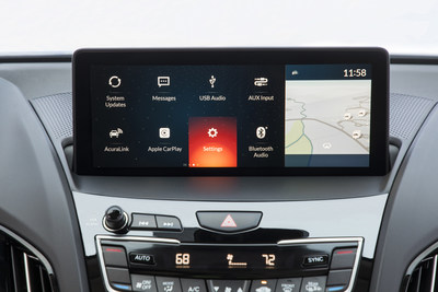 The True Touchpad Interface features a wide, 10.2-inch full-HD display mounted high atop the dash, close to the driver?s natural line of sight. The screen displays a newly designed operating system with simple, clean graphics and menu structures designed to work in concert with the touchpad.