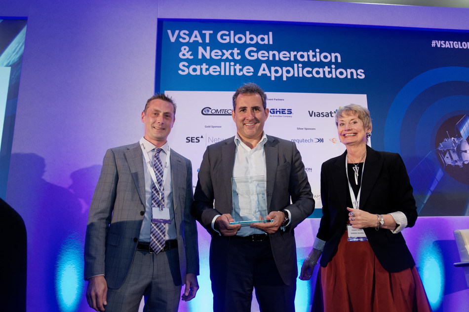 Speedcast CEO PJ Beylier accepts the award for Service Provider of the Year at the VSAT Stellar Awards 2018 in London.