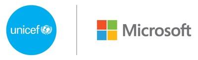 Logotipo da parceria da UNICEF USA e Microsoft (PRNewsfoto/UNICEF USA)