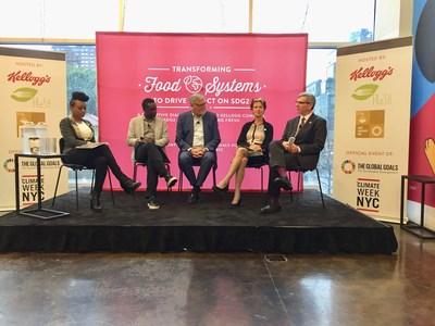 Transforming Food Systems to Drive Solutions for Achieving SDG2-Zero Hunger event participants (LtR): Femi Oke, International Journalist; Pierre Thiam, Co-Founder of Yolélé Foods and Chef and Co-Founder, Teranga Restaurant, in NYC; Jose Pedro Ferrão, International President, United Way; Gerda Verburg, Coordinator, Scaling Up Nutrition (SUN) Movement and U.N. Assistant Secretary-General and William Warshauer, CEO, TechnoServe