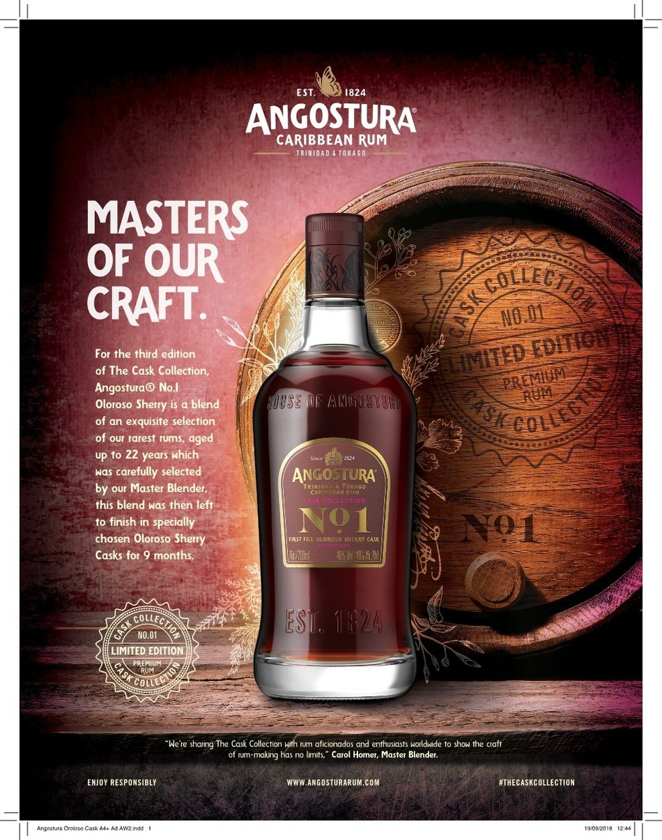 Angostura releases new Cask Collection Ultra-Premium Rum finished in Sherry Casks (PRNewsfoto/Angostura Holdings Limited)