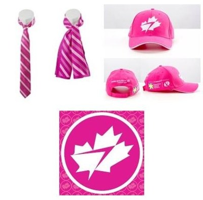 WestJet's custom-designed pink neckwear, hats, and 'personality' pins (CNW Group/WESTJET, an Alberta Partnership)