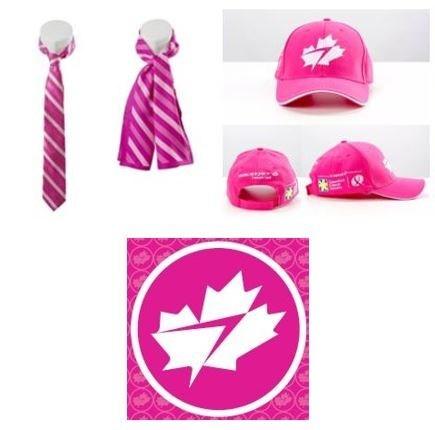 WestJet's custom-designed pink neckwear, hats, and 'personality' pins (CNW Group/WESTJET, an Alberta Partnership)