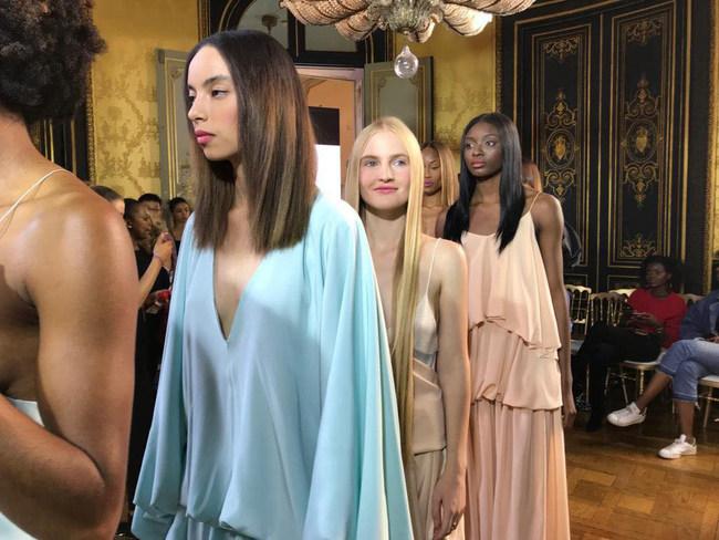 Models for Kentaro Kameyama and G Sonsie Runway show at HOTEL D'EVREUX, PLACE VENDÔME of Paris Fashion Week 2018