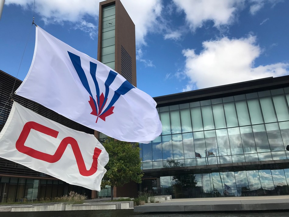 Mayor Maurizio Bevilacqua celebrated Rail Safety Week with a flag raising at the City of Vaughan on September 26, 2018. (CNW Group/City of Vaughan)