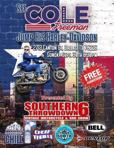 Cole will be jumping over 18,720 bottles of Northern Chill Alkaline Water and a GMC Sierra 1500 truck at the 6th Annual Southern Throwdown on Sunday, September 30, 2018 at 6pm