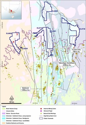 Figure 3. Interpreted geology of Central Victoria showing Chalice tenure (CNW Group/Chalice Gold Mines Limited)