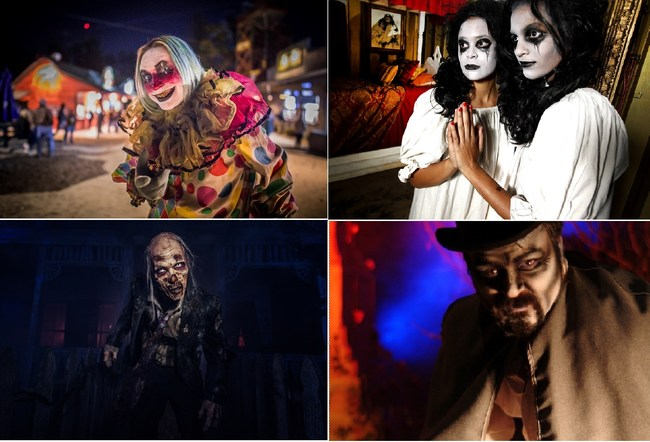 caption: l-r, Most Extreme Haunted Attractions in America – Spookywoods - Highpoint, NC; Thrillvania -Dallas, TX; House of Torment - Austin, TX; Beast - Kansas City, MO
