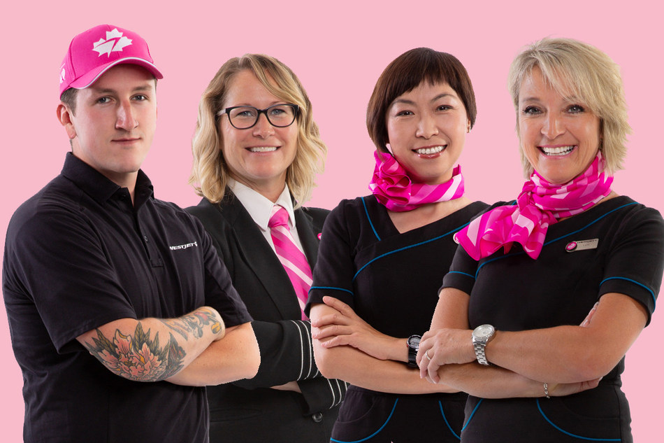 WestJet Breast Cancer Awareness Month Ambassadors Rudy, Carey, Cat, and Lynn in their custom-designed pink-neckwear, hat and pink 'personality' pins (CNW Group/WESTJET, an Alberta Partnership)