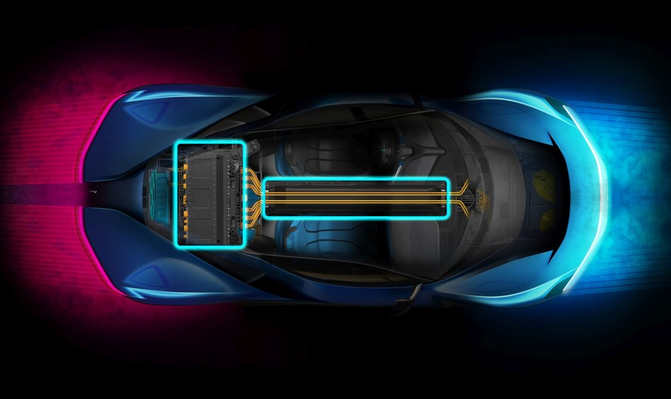 PF0 EV powertrain layout concept (PRNewsfoto/Automobili Pininfarina)