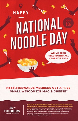 Noodles & Company celebrates National Noodle Day on Oct. 6 with FREE Wisconsin Mac & Cheese.