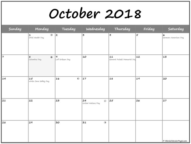 October 2018 calendar with moon phases and USA holidays
