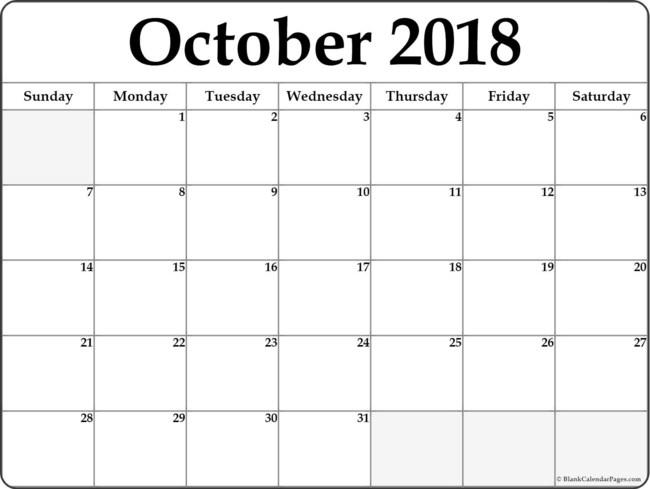 October 2018 blank monthly calendar