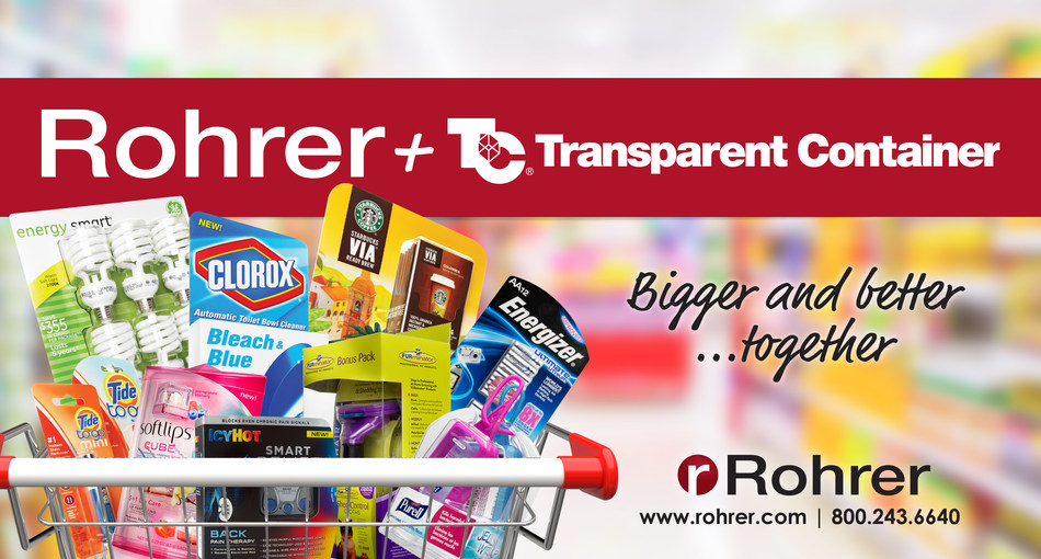 Rohrer acquires Transparent Container to deliver exceptional customer value. (PRNewsfoto/Rohrer Corporation)