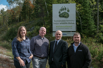 To mark National Forest Week, representatives of Domtar Inc., EACOM Timber Corporation and Forests Ontario gathered in Northeastern Ontario to unveil a new billboard as part of the province-wide It Takes A Forest initiative. Stephanie Parzei, Forest Environmental Management Coordinator, EACOM Timber Corporation ǀ Mike Furniss, Superintendent of Fibre Procurement, Domtar Inc. ǀ Les Gamble, Mayor, Township of Sables-Spanish Rivers ǀ Scott Jackson, Director of Indigenous/Stakeholder Relations. (CNW Group/Forests Ontario)