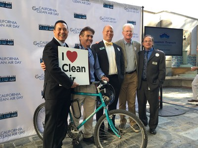 Pictured here from left to right: Dr. Joseph K. Lyou, president & CEO, Coalition for Clean Air, Michael Ciacciotti, Pasadena Councilmember and Board Member of SCAQMD, Chris Thompson, Board Member of the Coalition for Clean Air and vice president of local public affairs for SoCal Edison, Ed Begley, Jr., Board Member of the Coalition for Clean Air, George Minter, treasurer of the Coalition for Clean Air and regional vice president of external affairs and environmental strategy for SoCalGas