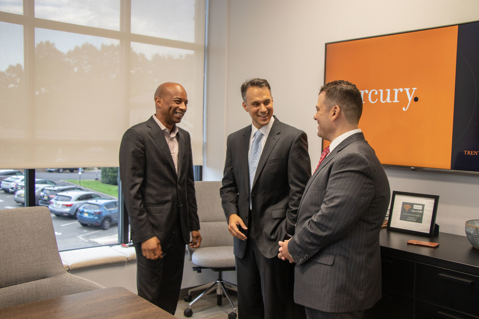 Mercury Partners Mo Butler, Mike DuHaime and Mike Soliman celebrate the opening of the firm's new, state-of-the-art office space in Westfield, New Jersey.