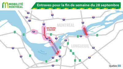 Entraves pour la fin de semaine du 28 septembre (Groupe CNW/Ministère des Transports, de la Mobilité durable et de l'Électrification des transports)