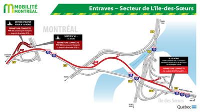 Entraves dans le secteur de L'Île-des-Soeurs (Groupe CNW/Ministère des Transports, de la Mobilité durable et de l'Électrification des transports)