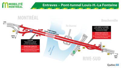 Entraves ? Pont-tunnel Louis-H.-La Fontaine (Groupe CNW/Ministère des Transports, de la Mobilité durable et de l'Électrification des transports)