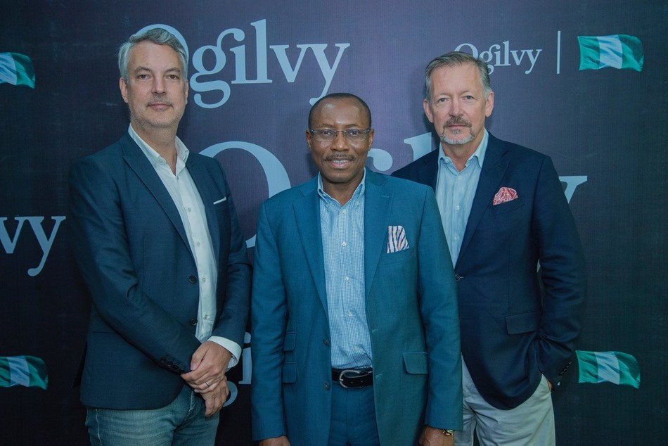From L – T : Mathieu Plassard, Chief Executive, Ogilvy Africa; Seni Adetu, Chief Executive, Ogilvy Nigeria and Paul O'Donnell, Chief Executive, EMEA, Executive Partner, the Ogilvy Group, during the media launch of Ogilvy Nigeria at the Landmark Event Centre Lagos (PRNewsfoto/Ogilvy)