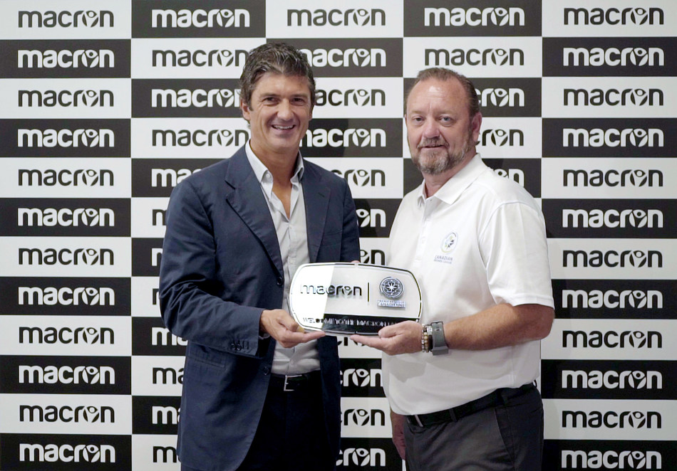 Canadian Premier League (CPL) Commissioner, David Clanachan (right),  and Macron CEO, Gianluca Pavanello (left), announce a new long-term partnership that makes Macron the CPL's official league kit provider beginning with the 2019 season. (CNW Group/Canadian Premier League)