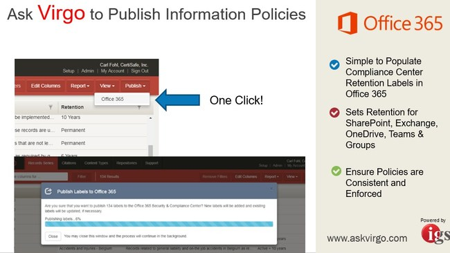 Publish Governance Policies to Office 365 Information Protection and Advanced Data Governance