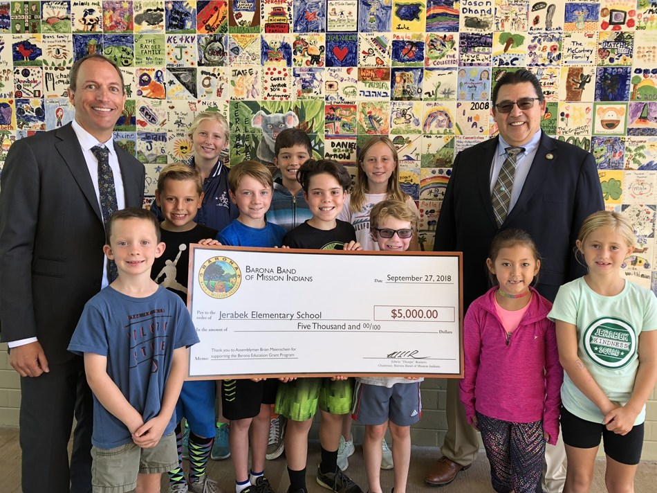 Jerabek Elementary School was awarded a $5,000 education grant from the Barona Band of Mission Indians to create a STEM Lab.