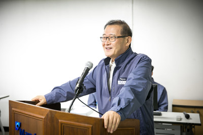 """Mando Chairman Chung Mong-won is making congratulatory remarks in the """"MGH-100 Flawless Launching Ceremony"""" held in Pyeongtaek Brake Business Headquarters."""