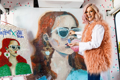 Tic Tac® Canada partners with Canadian designer Tiffany Pratt and local artist Frances Hahn to launch Tic Tac® Gum in Canada with an art installation using Tic Tac® Gum. (CNW Group/Tic Tac Canada)