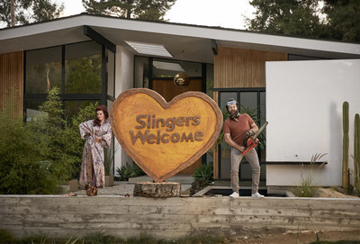 "Megan Mullally and Nick Offerman star in Sling TV's newest ad campaign, ""Meet the Slingers."""