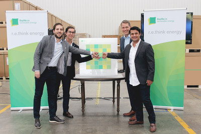 DM Solar and BayWa r.e. leadership teams celebrate the new partnership. Pictured (L to R): Andrés Gonzale( General manager), David Rodriguez (Engineering Director), Frank Jessel (Global Head of Solar Trade, BayWa r.e. renewable energy GmbH), Yusef Kanchi (Commercial Director)
