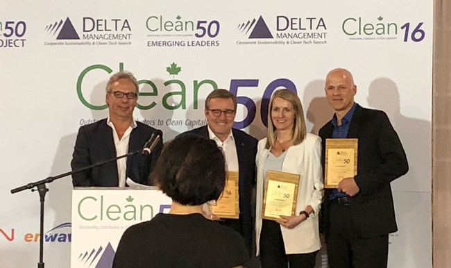 Eric Beckwitt, Freightera CEO, at the Clean50 Awards ceremony with the other winners in Manufacturing and Transportation category: Mario Plourde, CEO of Cascades, and Sarah Buckle, Director of Enterprise Risk and Sustainability at Translink. Clean50 CEO Gavin Pitchford presents the awards.