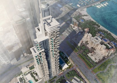 Aerial view of first Roberto Cavalli hotel, located by Dubai's top attractions