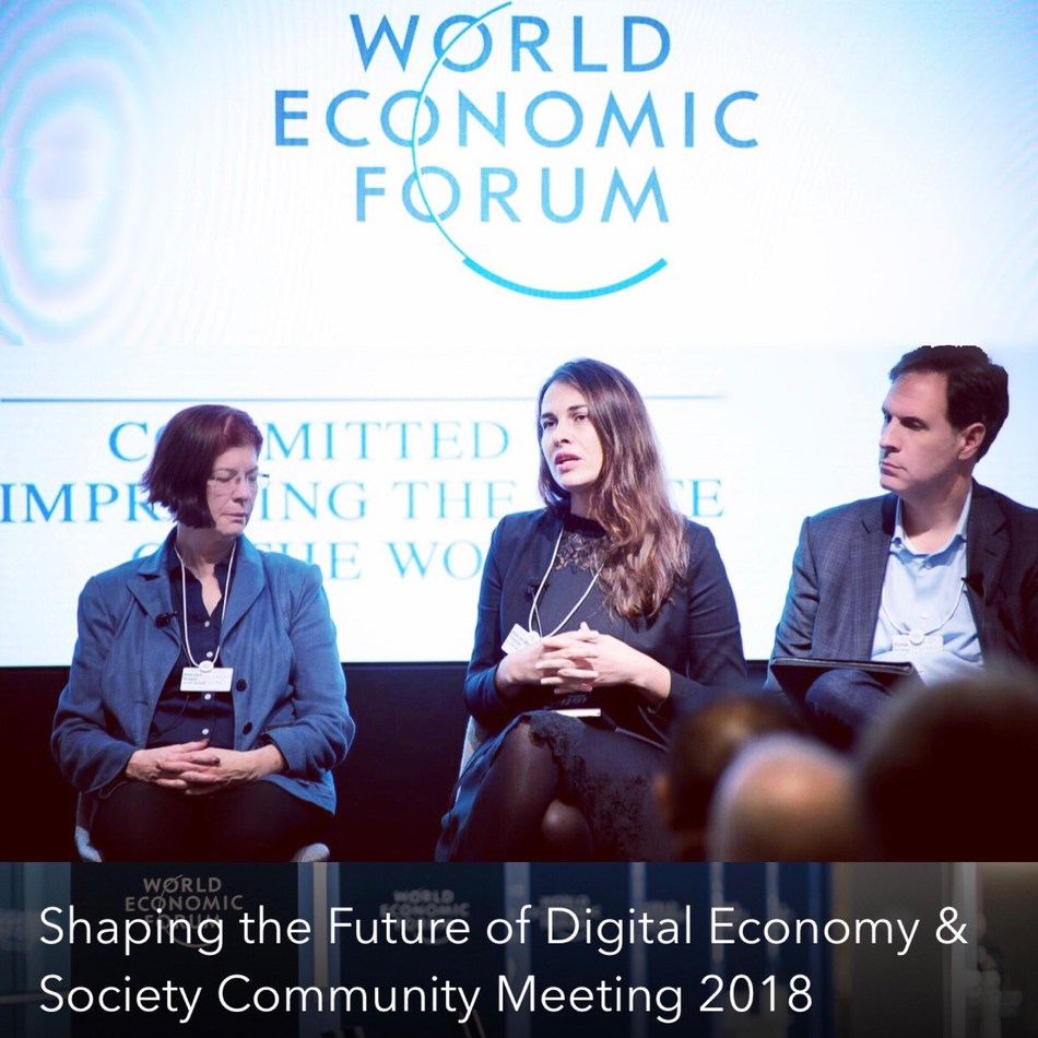 "Dr. Mariana Dahan speaking at the World Economic Forum's ""Shaping the Future of Digital Economy & Society"" gathering"
